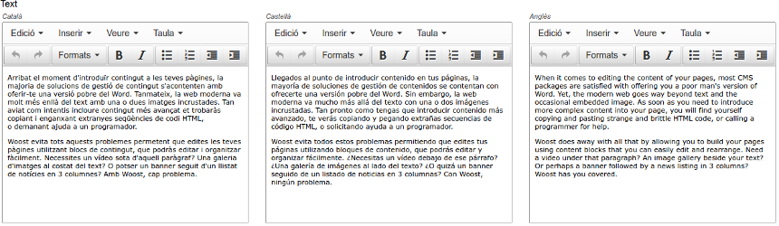Captura de pantalla de l'edició multilíngüe